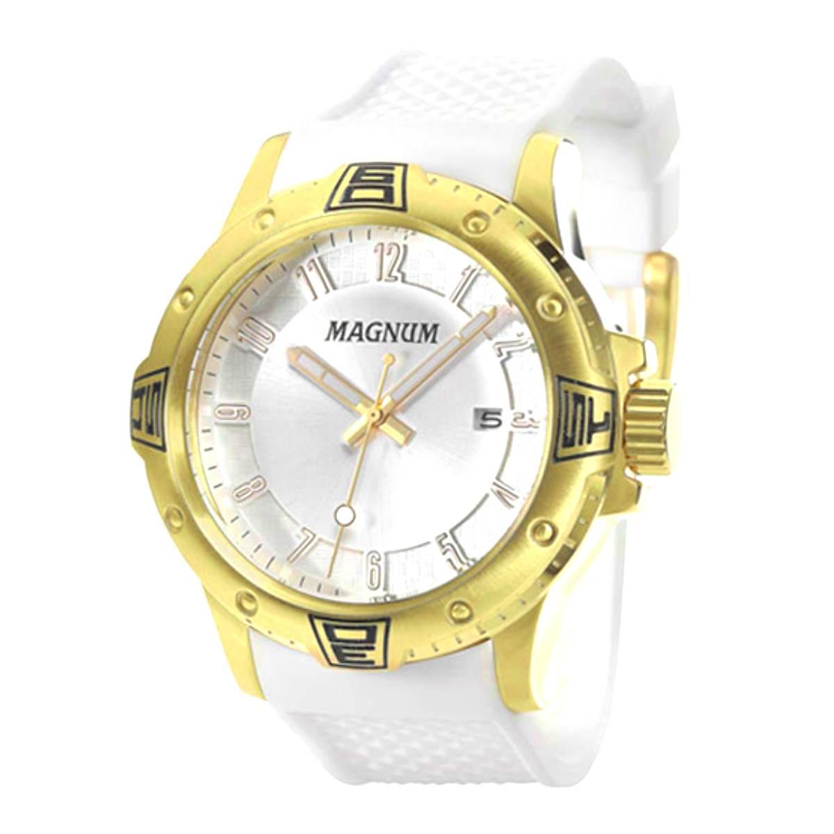Relógio Magnum Masculino Dourado Silicone MA34414B
