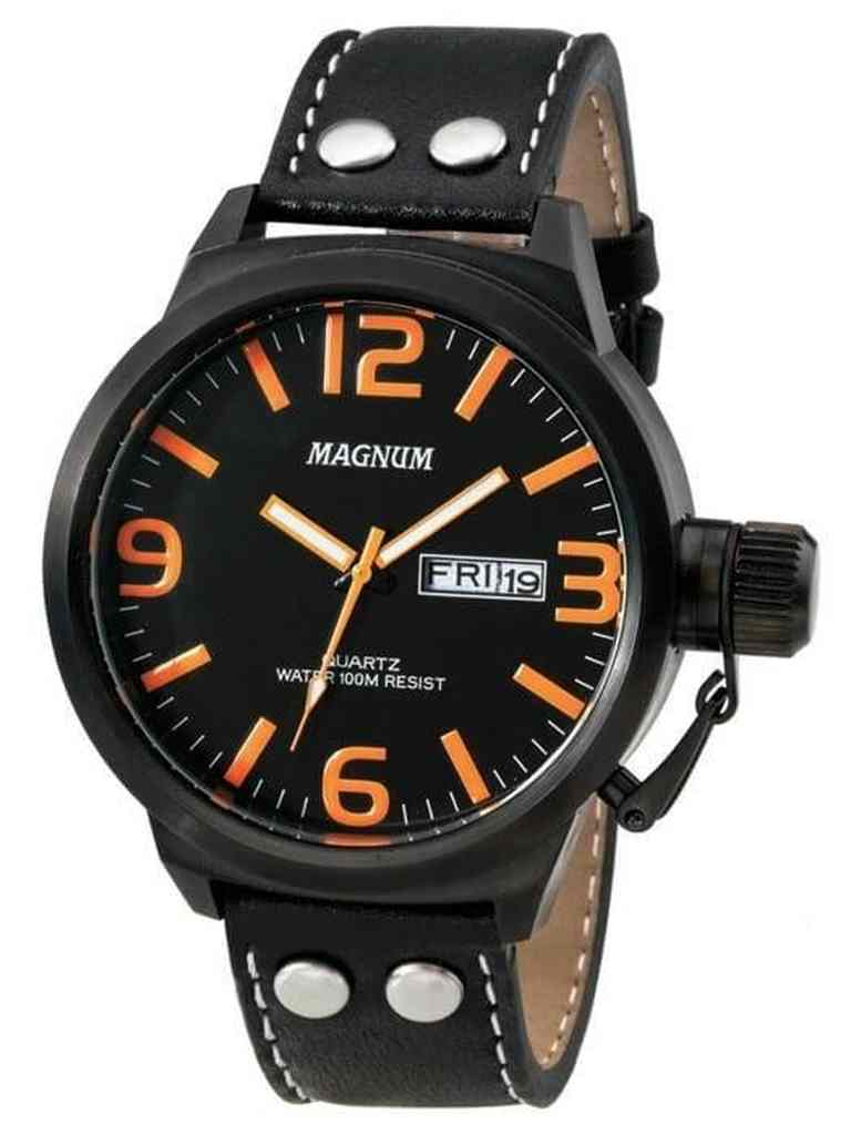 Relógio Magnum Military Analógico Masculino Pulseira de Couro Preto MA31524L