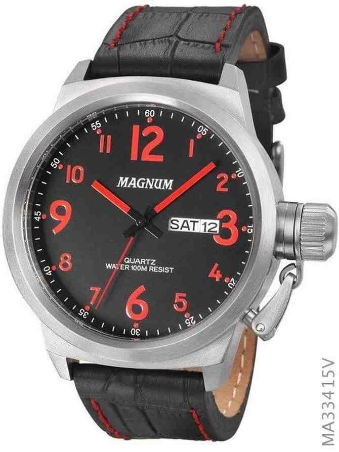 Relógio Magnum Military Analógico Masculino Pulseira de Couro Preto MA33415V