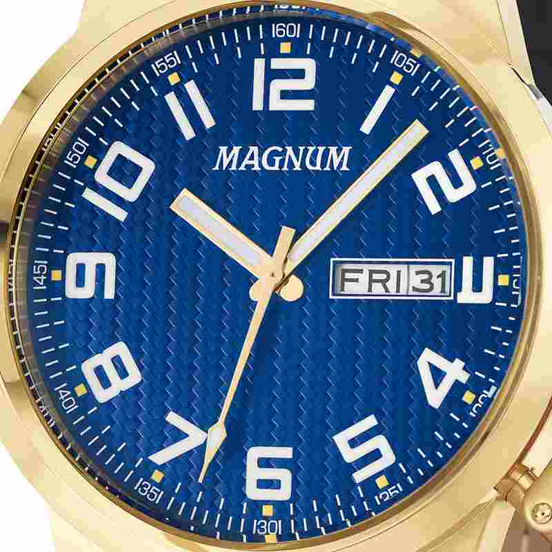 Relógio Magnum Military Masculino Analógico Calendário Dourado/Azul Couro MA32765A