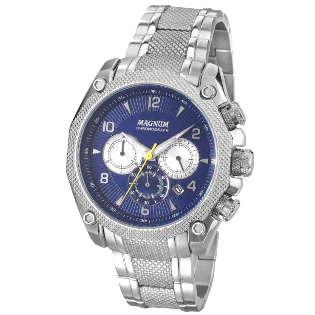 Relógio Magnum Masculino Prateado Chronograph MA33611F