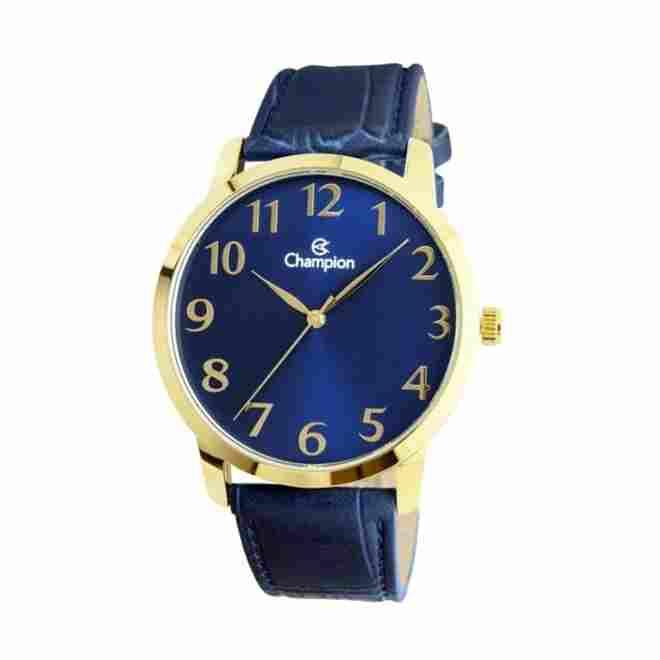 Relógio Masculino Champion Analógico Dourado Pulseira Couro Azul Cn20640a
