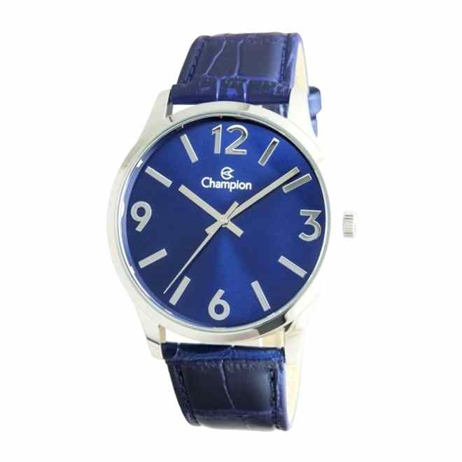 Relógio Masculino Champion Analógico Prateado Pulseira Couro Azul Cn20613f