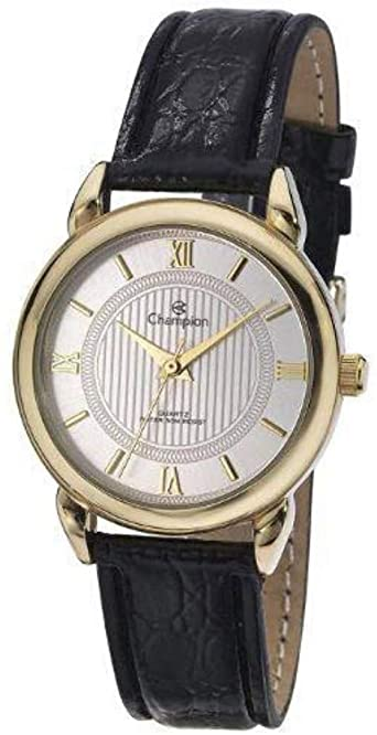 Relógio Feminino Champion Analógico Romano Dourado Pulseira Couro Preto Ch24071b