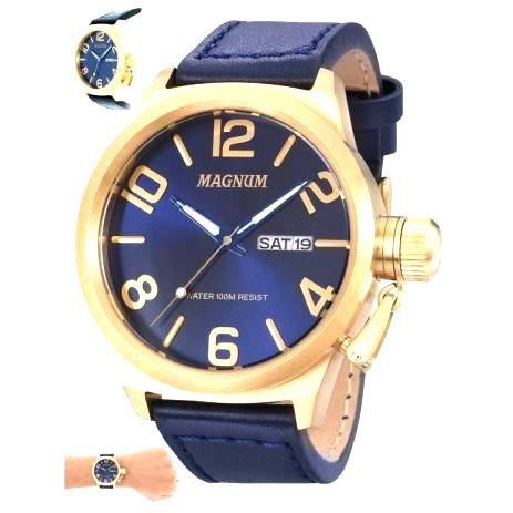 Relógio Masculino Magnum Analógico  Calendário Military  Dourado/Azul MA33399A