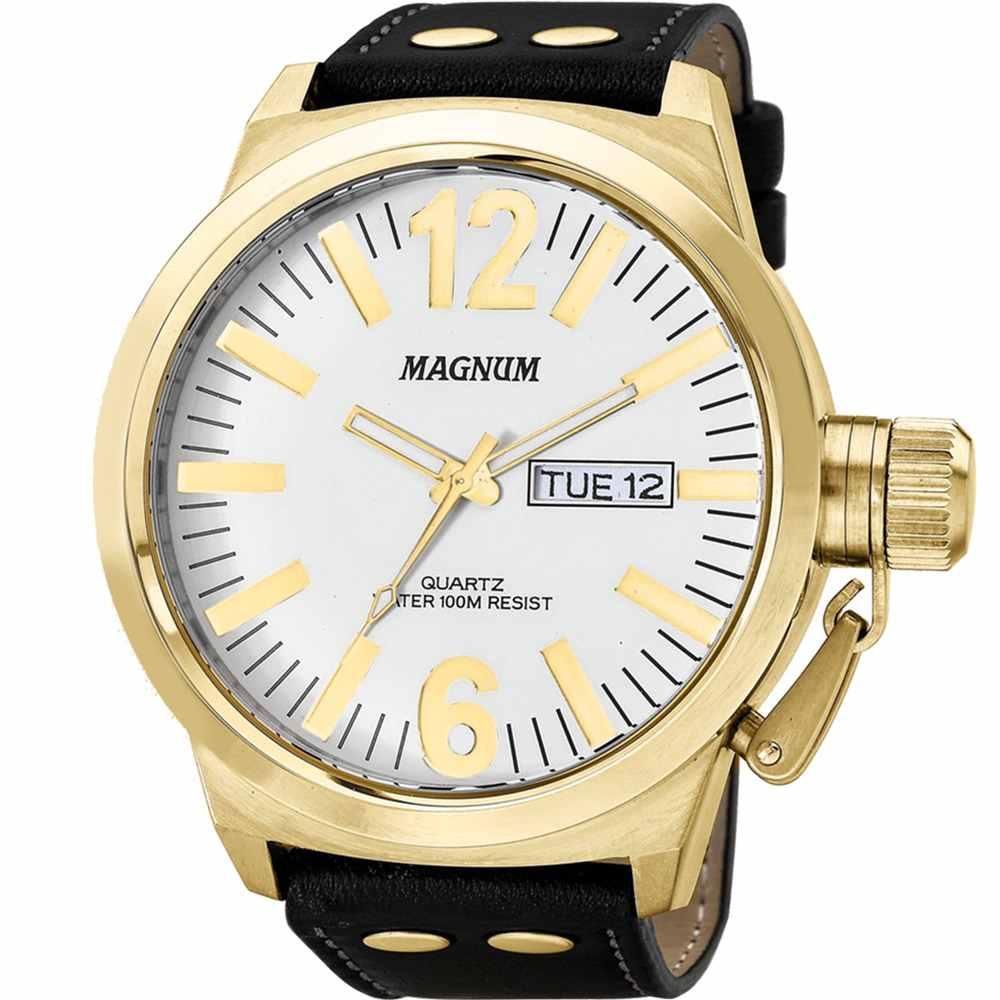Relógio Masculino Magnum Military Dourado Couro Marrom Fundo Branco MA31524B