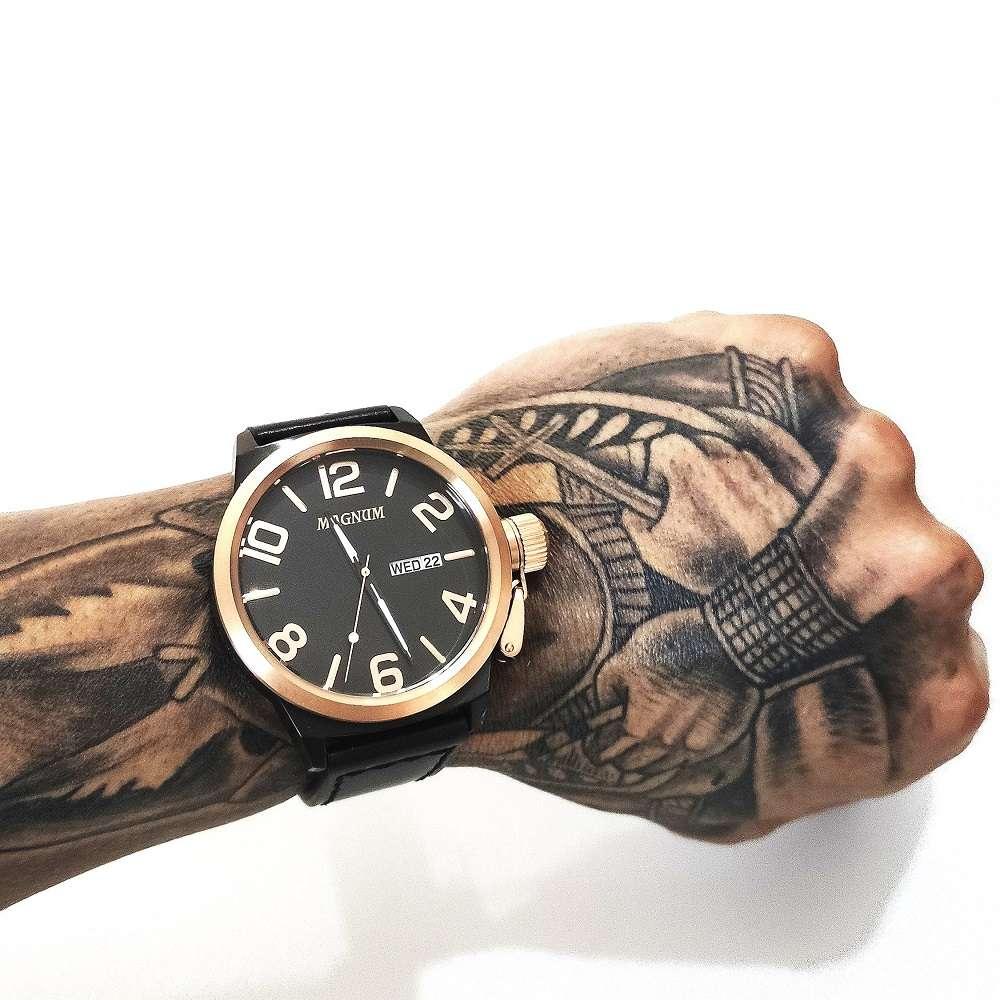 Relógio Masculino Magnum Analógico Calendário Military Preto/Bronze MA33399U