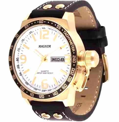 Relógio Masculino Magnum Analógico  Calendário Military Preto/Dourado Fundo Branco MA31542B