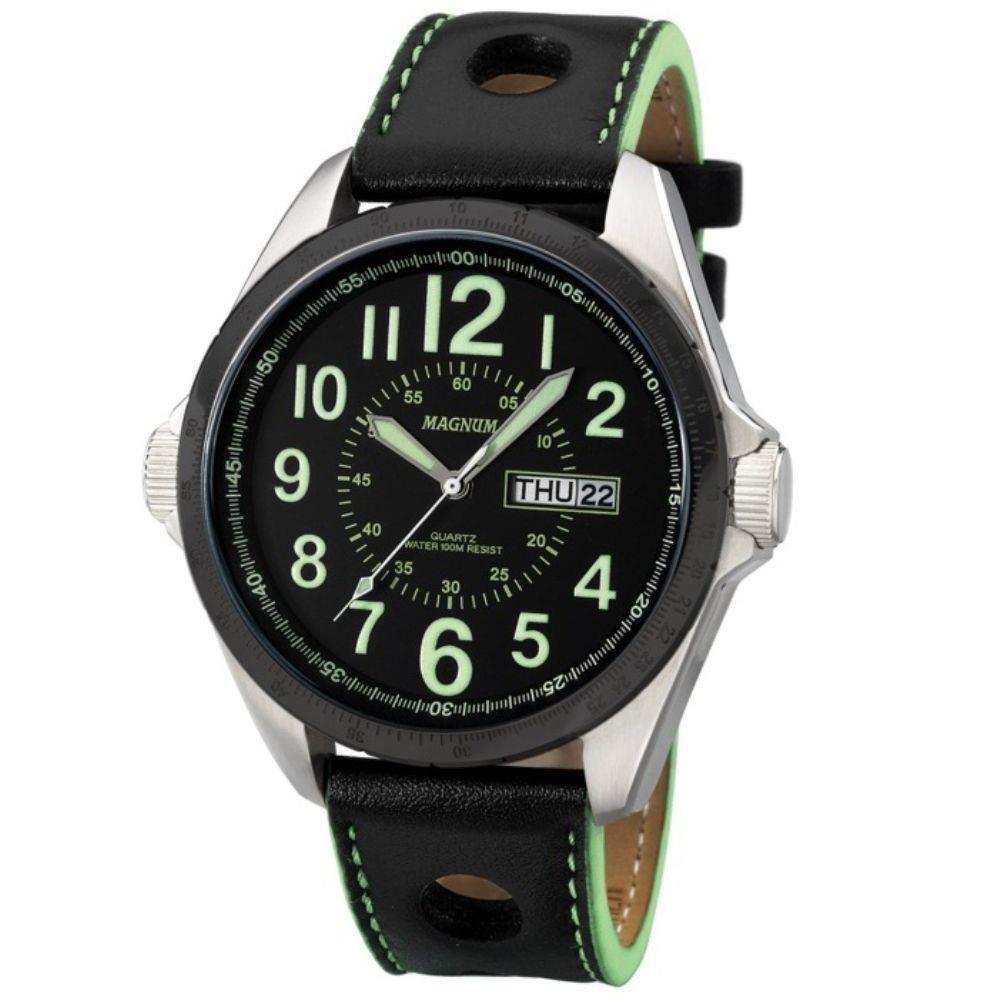 Relógio Masculino Magnum Analógico Preto/Verde Couro MA31604G