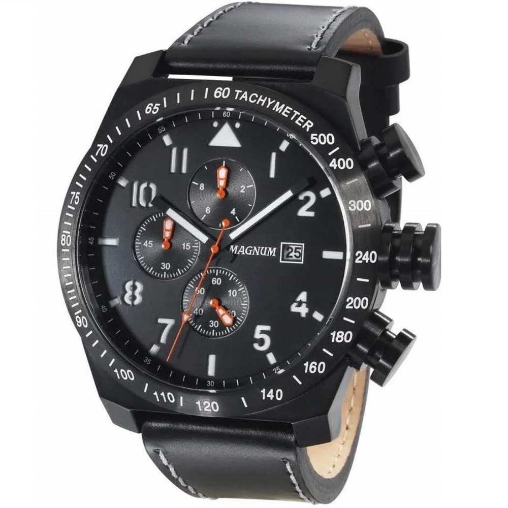 Relógio Masculino Magnum Cronógrafo Preto Couro MA34156P