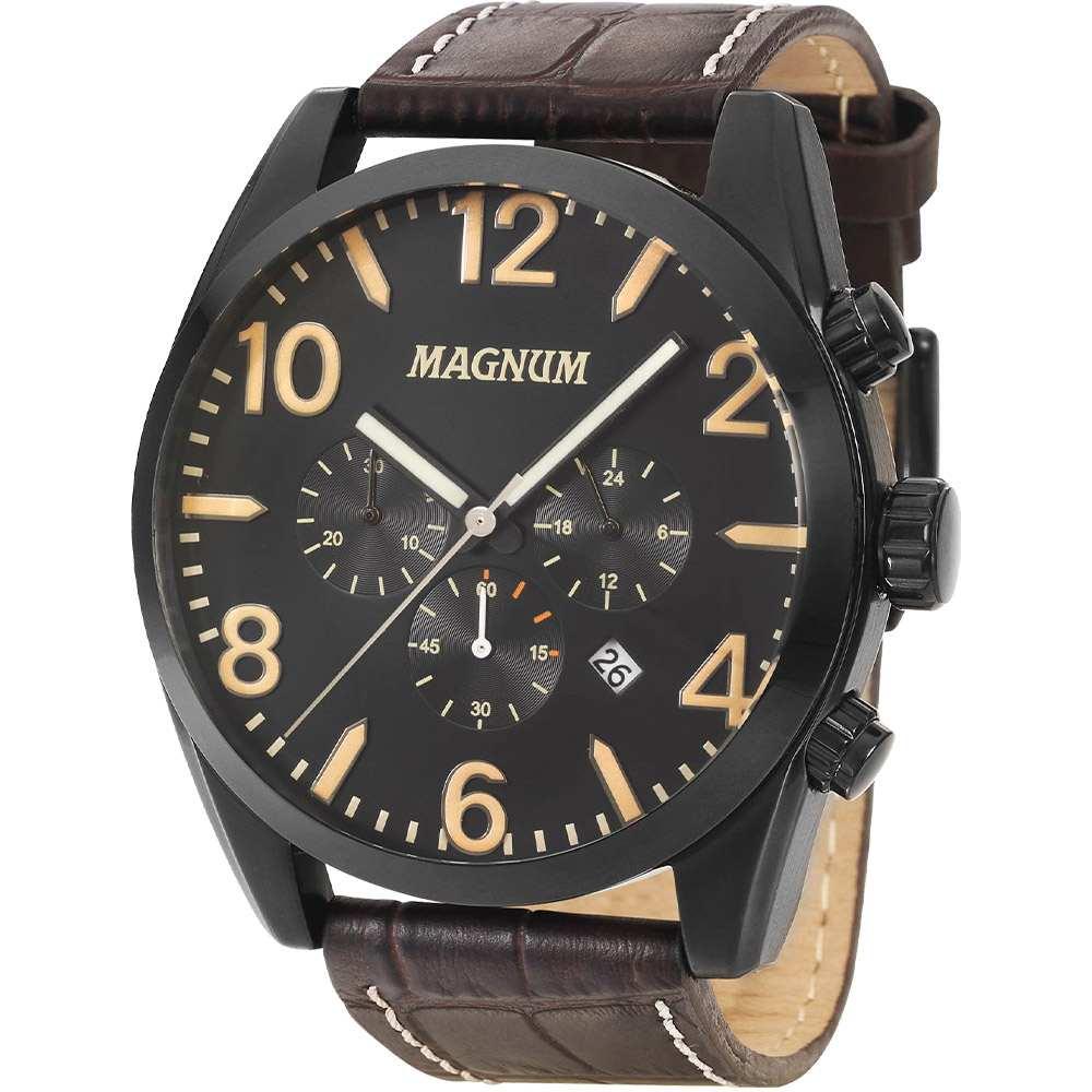 Relógio Masculino Magnum Cronógrafo Preto Couro Marrom MA34834D