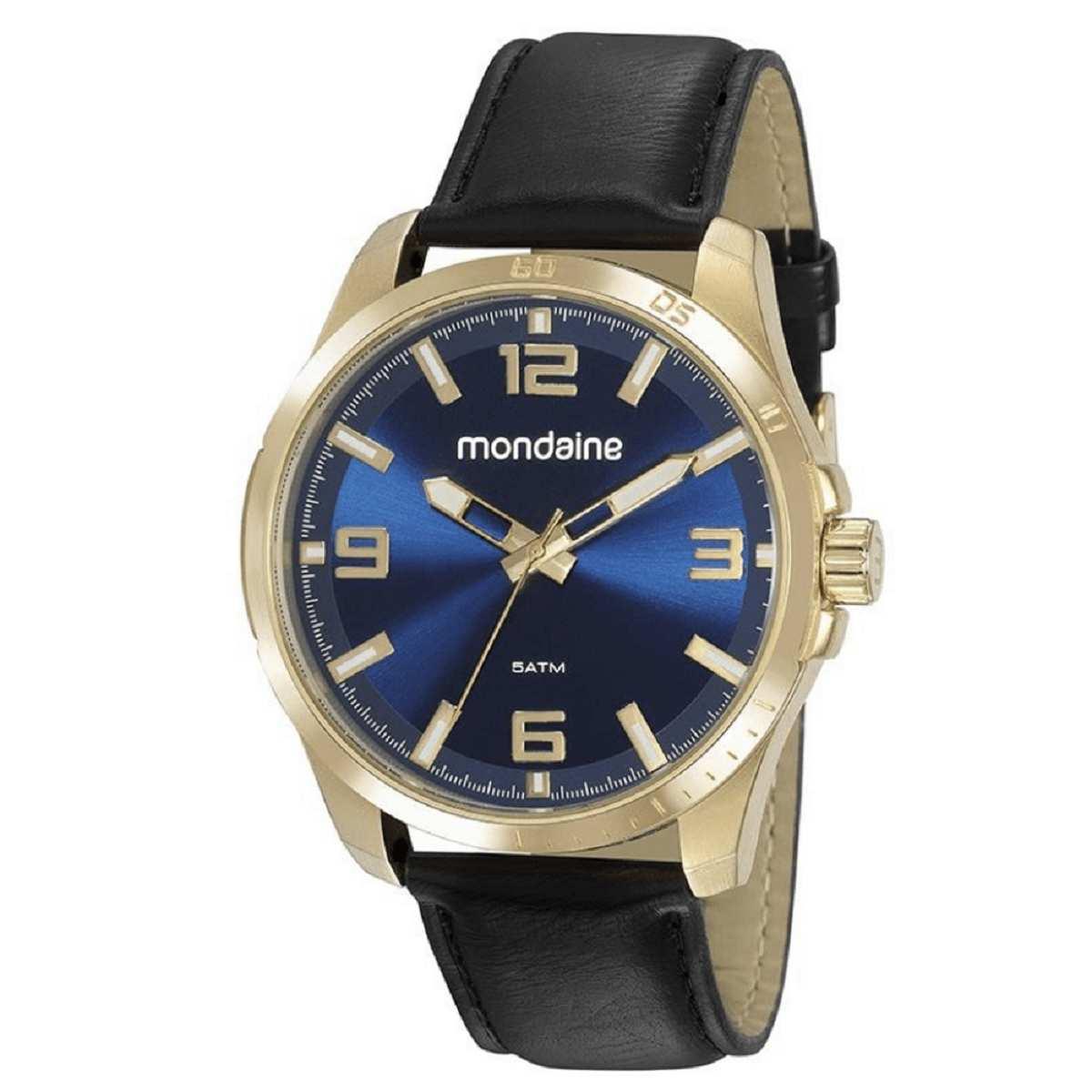 Relógio Masculino Mondaine Dourado Fundo Azul 53797GPMVDH1