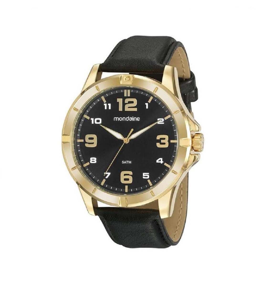 Relógio Masculino Mondaine Dourado Preto 99496GPMVDH1