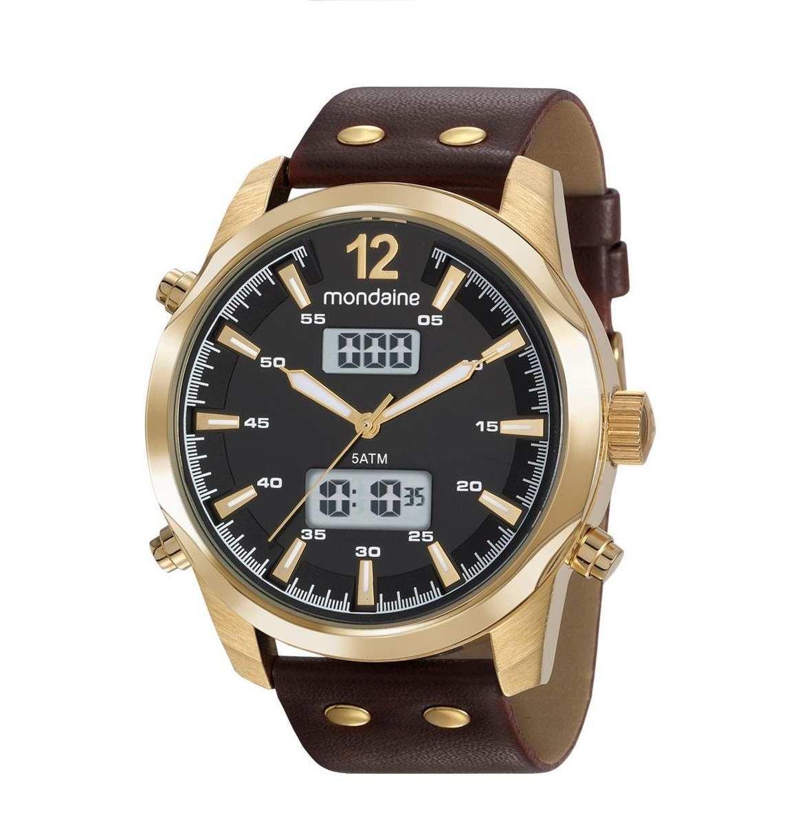 Relógio Masculino Mondaine Marrom/Dourado Digital e analógico 99381GPMVDH2