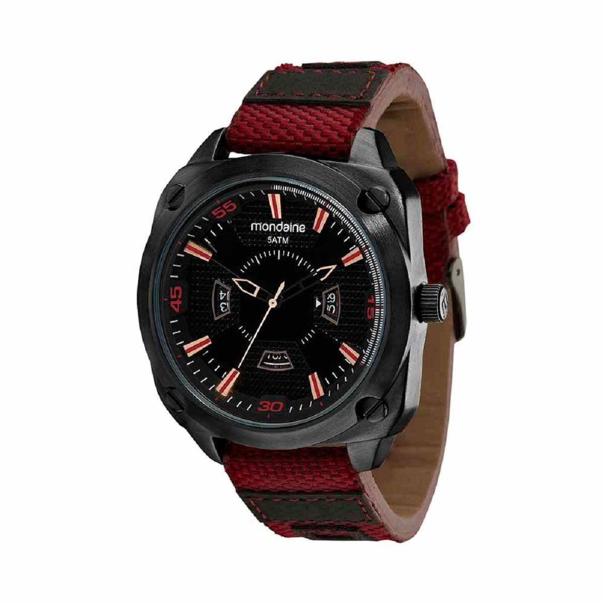 Relógio Masculino Mondaine Preto/Vinho Nylon 99543GPMVPH1