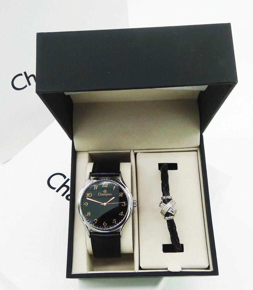 Relógio Masculino E Pulseira De Couro Preto  Champion CN20024C