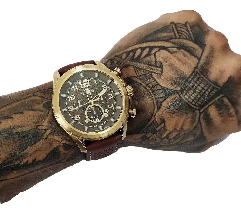 Relógio Masculino Technos Skymaster Cronógrafo Couro Marrom JS25BG/0M