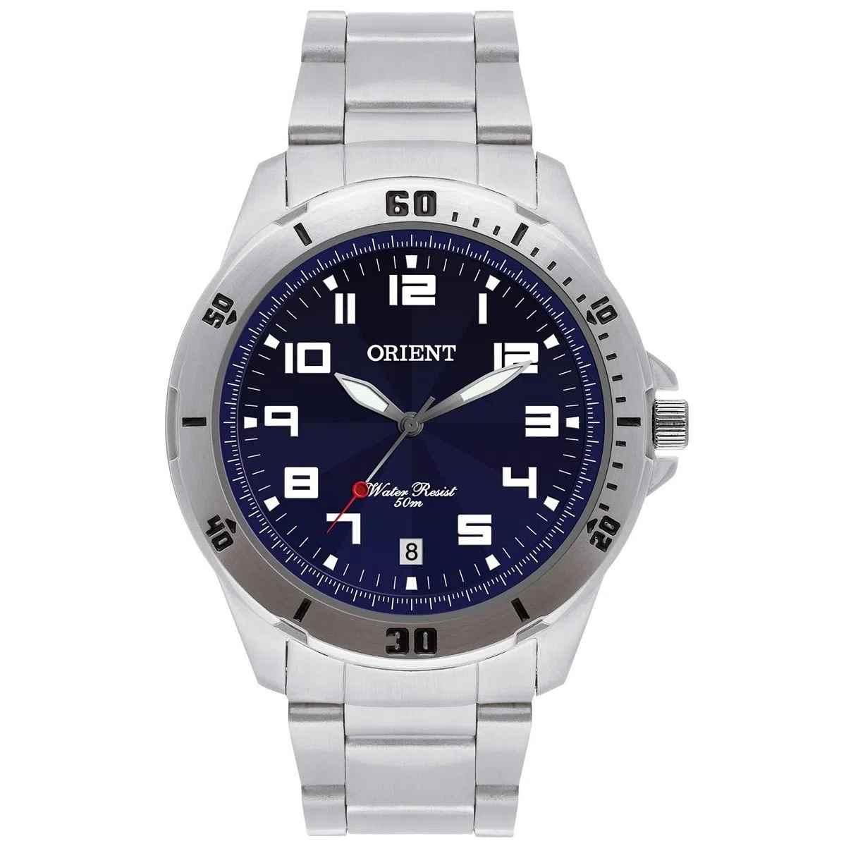 Relógio Orient Masculino Analógico Prateado Fundo Azul MBSS1155A D2SX