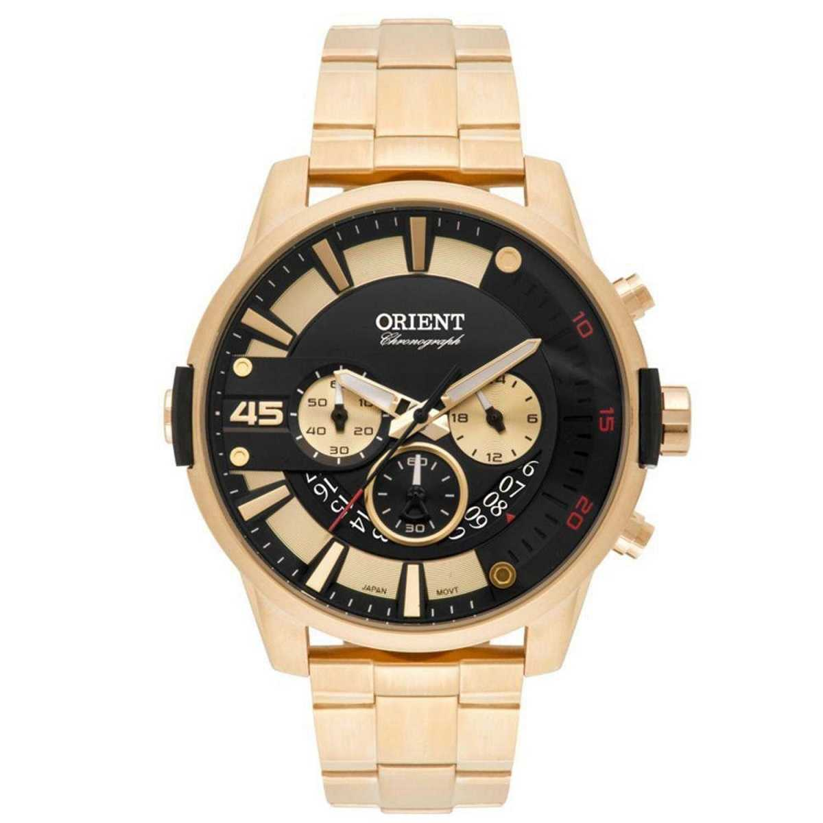 Relógio Orient Masculino Cronógrafo Dourado MGSSC026 P2KX