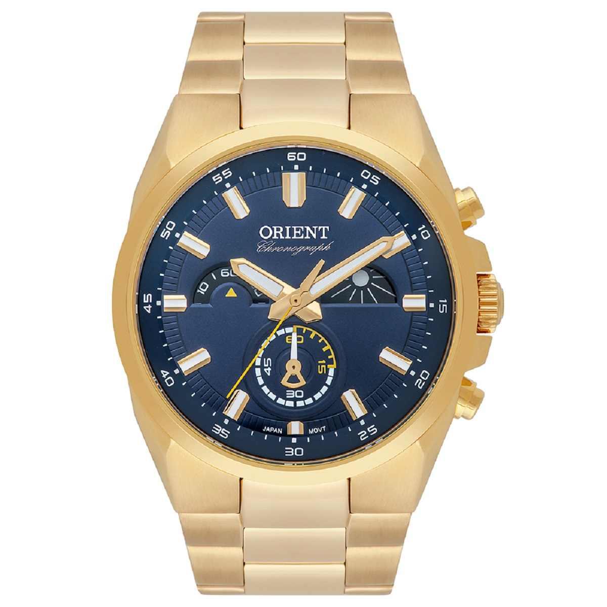 Relógio Orient Masculino Cronógrafo Dourado MGSSC032 D1KX