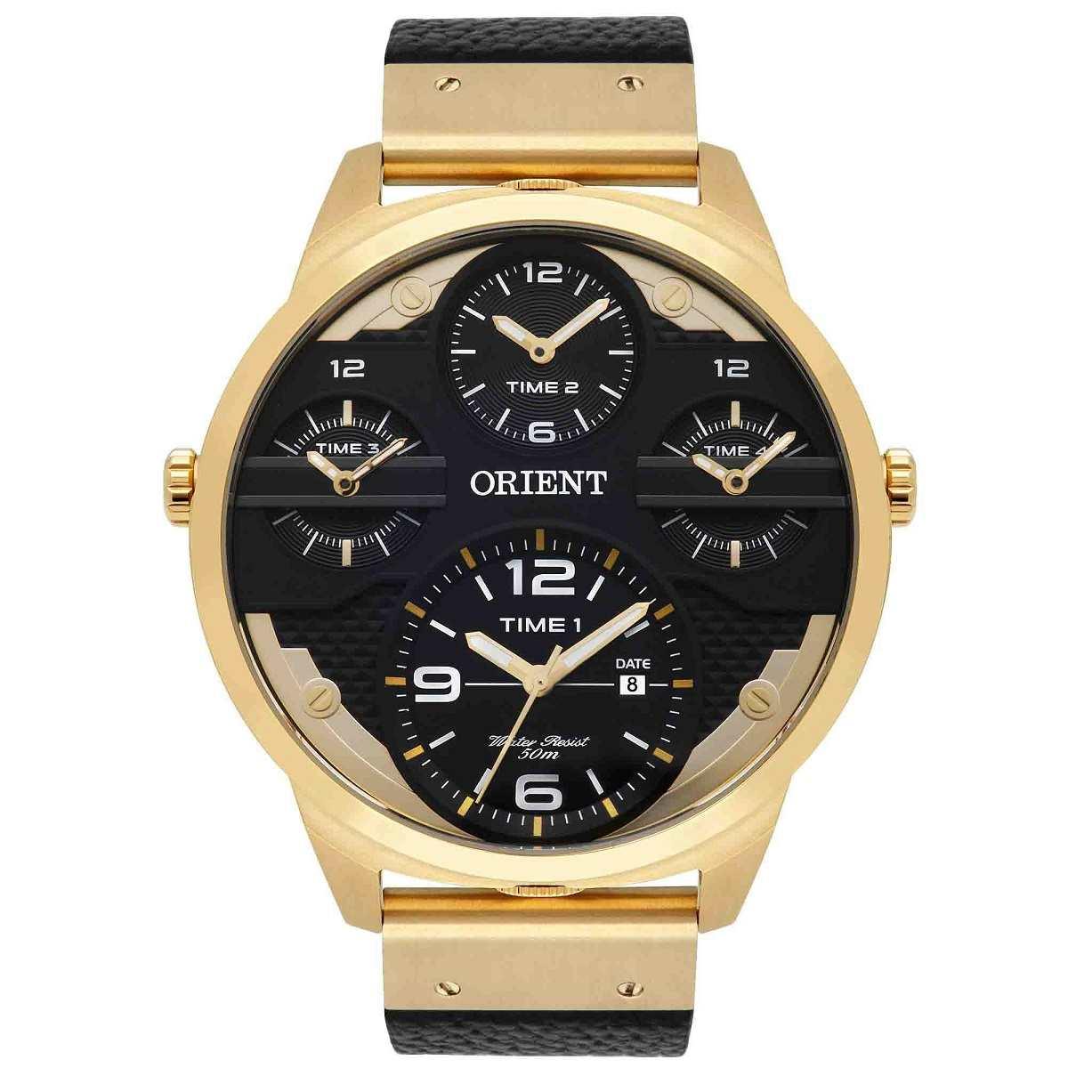 Relógio Orient Masculino Cronógrafo Dourado Pulseira De Couro Preto MGSCT001 P2PX