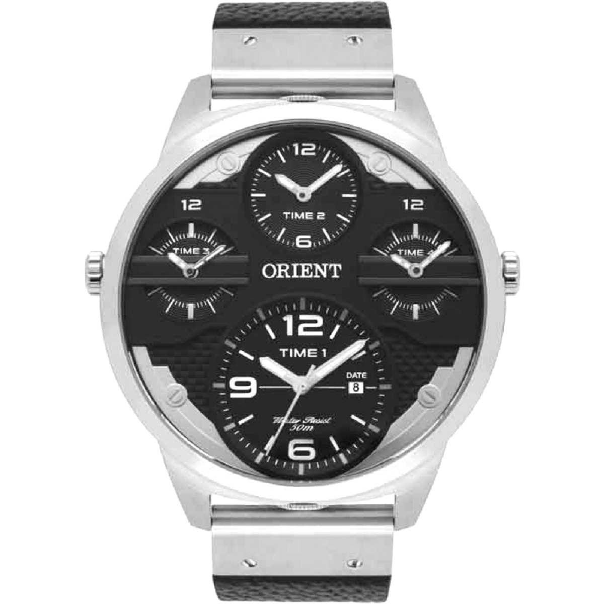 Relógio Orient Masculino Cronógrafo Prateado Pulseira De Couro Preto MBSCT003 P2PX