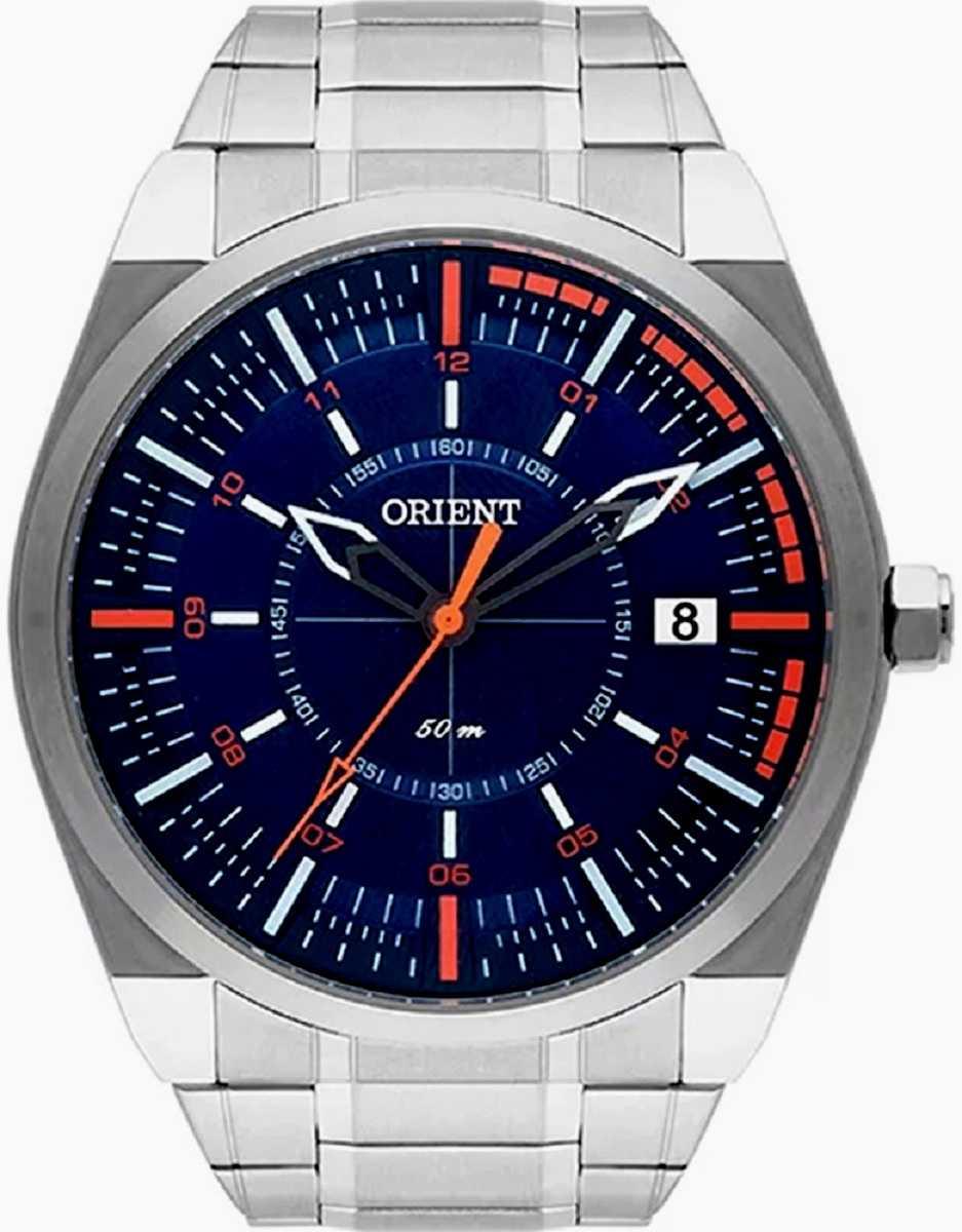 Relógio Orient Masculino Prateado Fundo Azul MBSS1316 DOSX