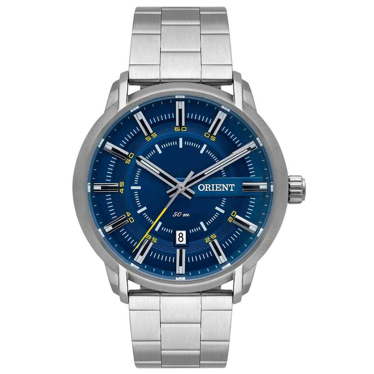 Relógio Orient Masculino Prateado Fundo Azul MBSS1347 D1SX