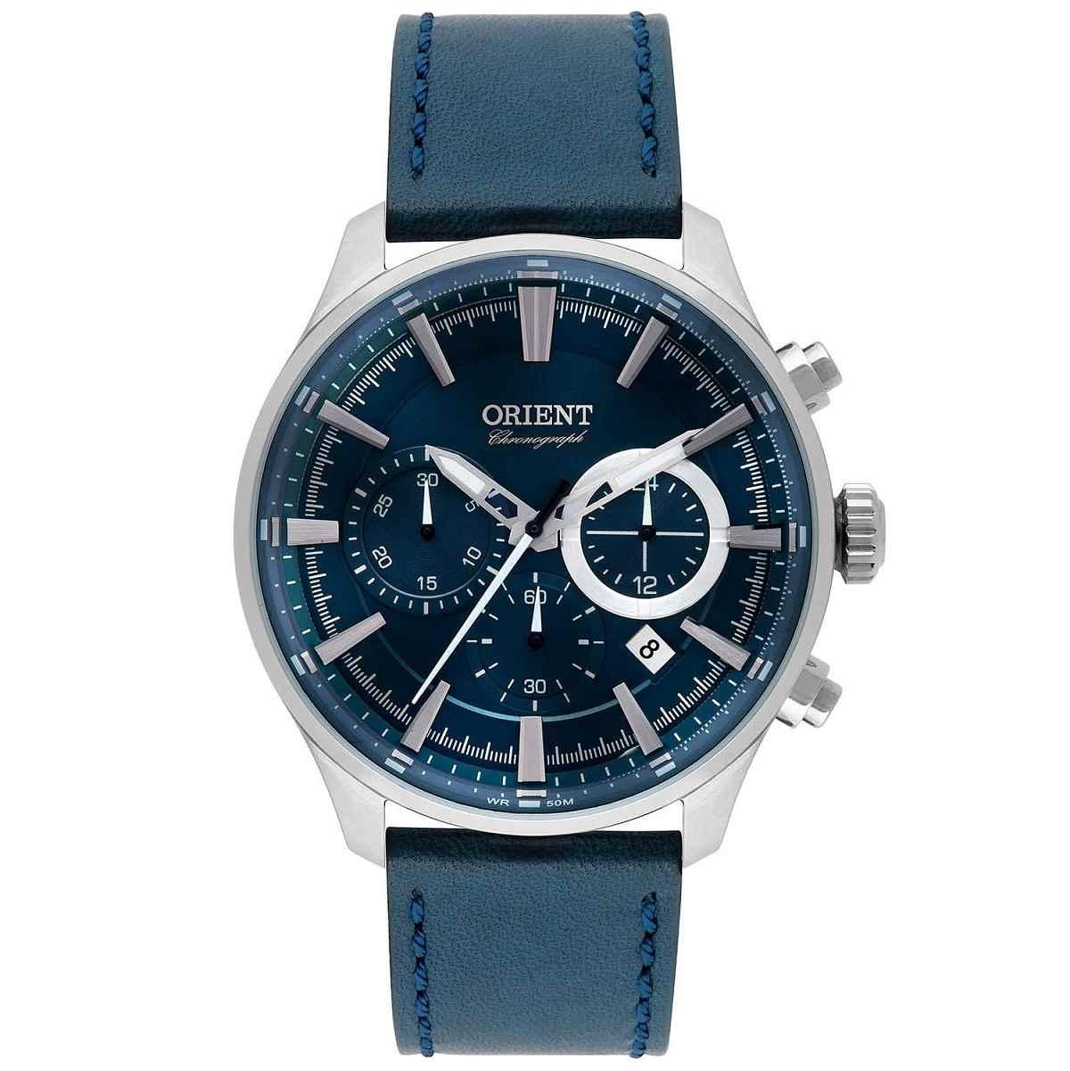 Relógio Orient Masculino Azul Pulseira de Couro MBSCC051 D1DX