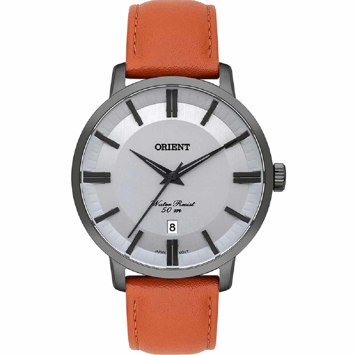 Relógio Orient Masculino Pulseira de Couro Laranja MYSC1005 S1MX