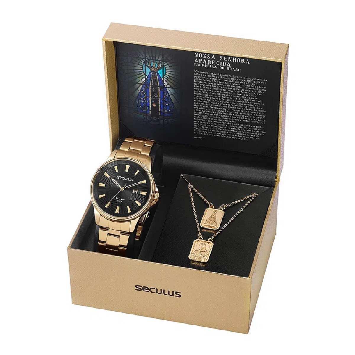 Relógio Seculus Masculino Dourado Nossa Sra Aparecida 35001GPSKDA1K1