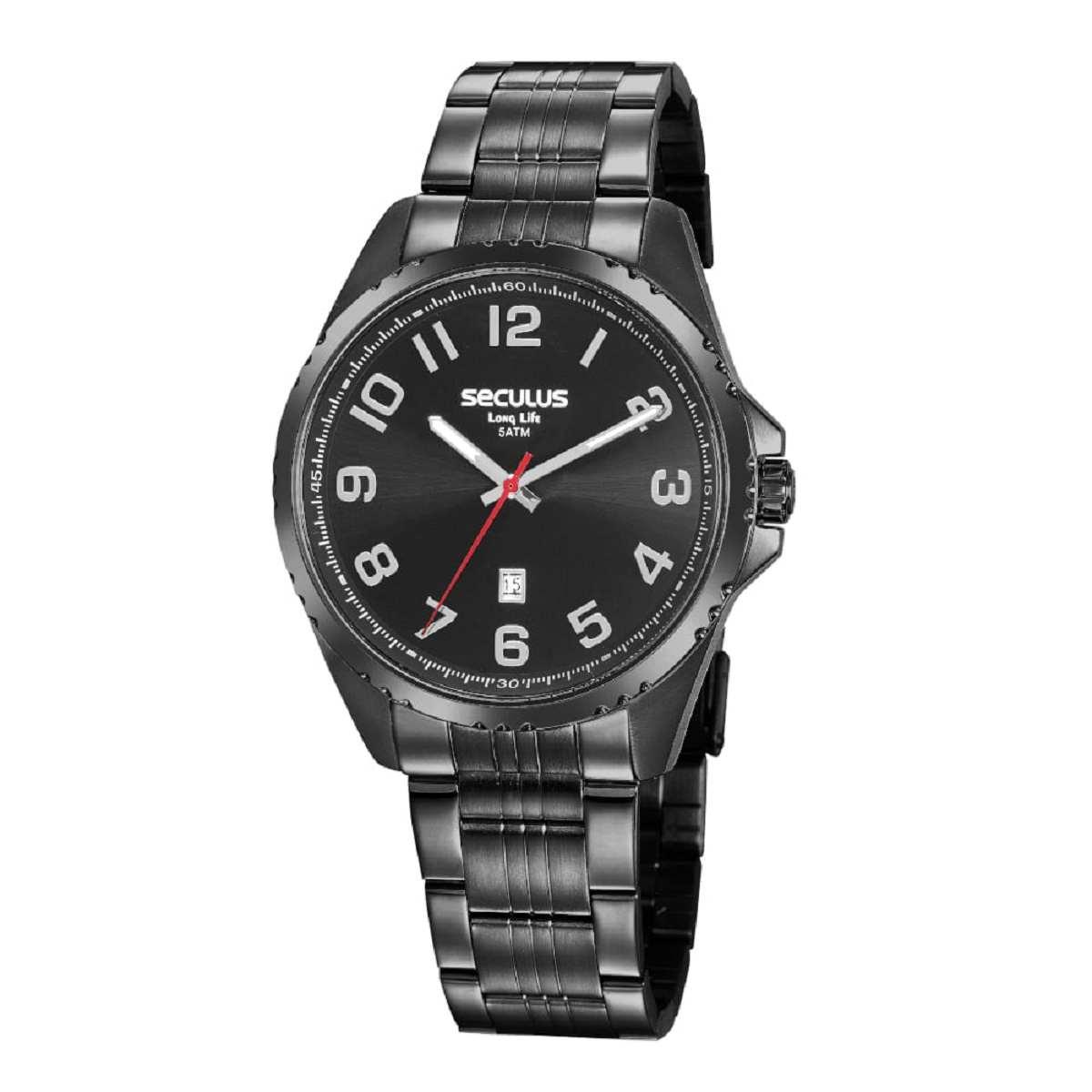 Relógio Seculus Masculino Casual Preto 20855