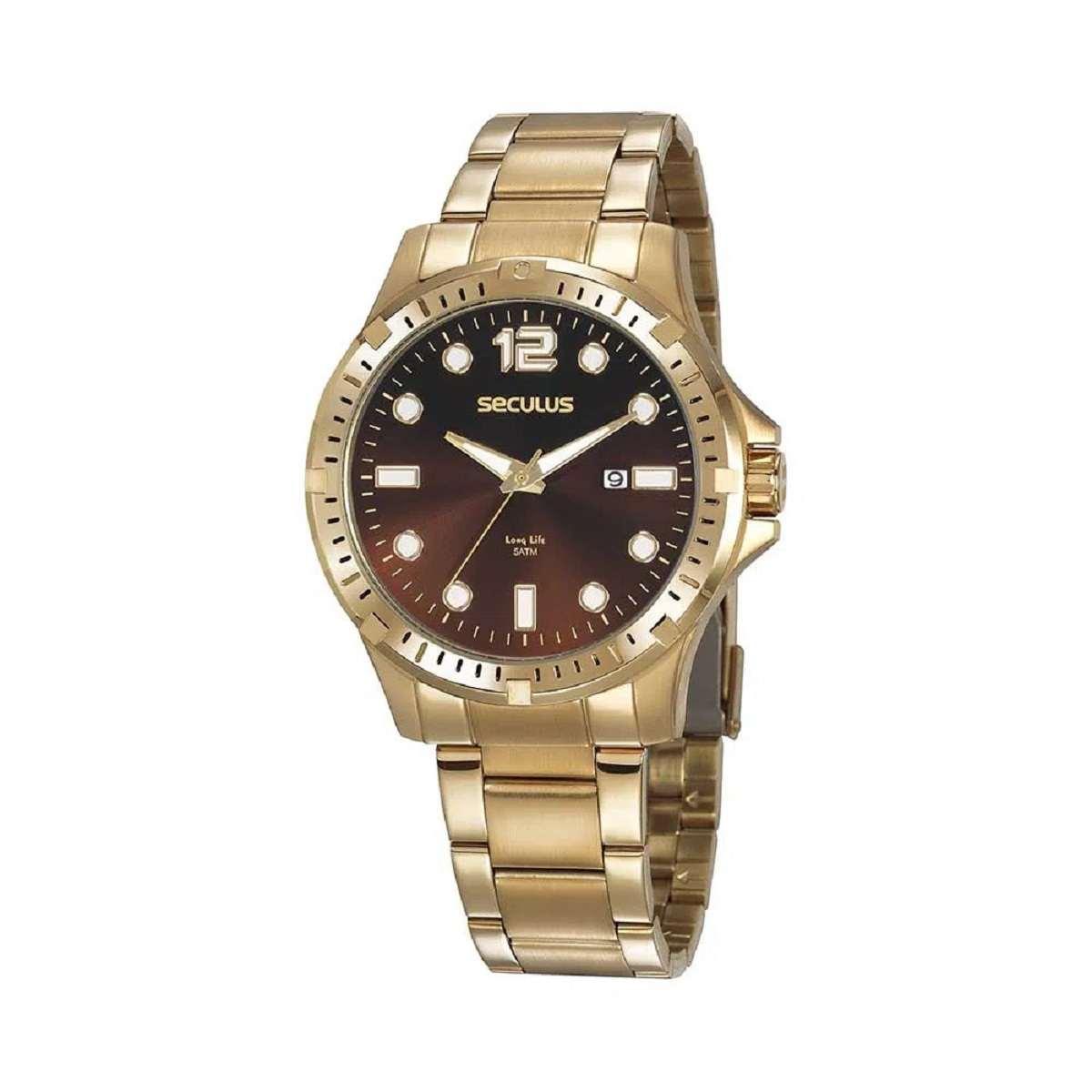 Relógio Seculus Masculino Dourado 20800GPSVDA2