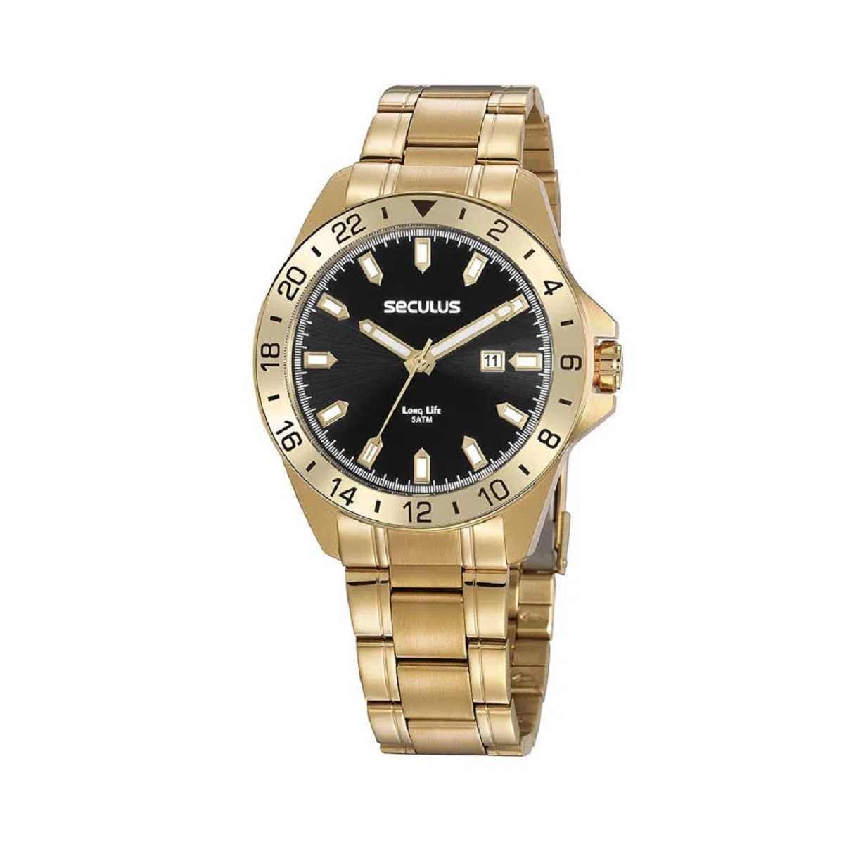 Relógio Seculus Masculino Dourado 20801GPSVDA2