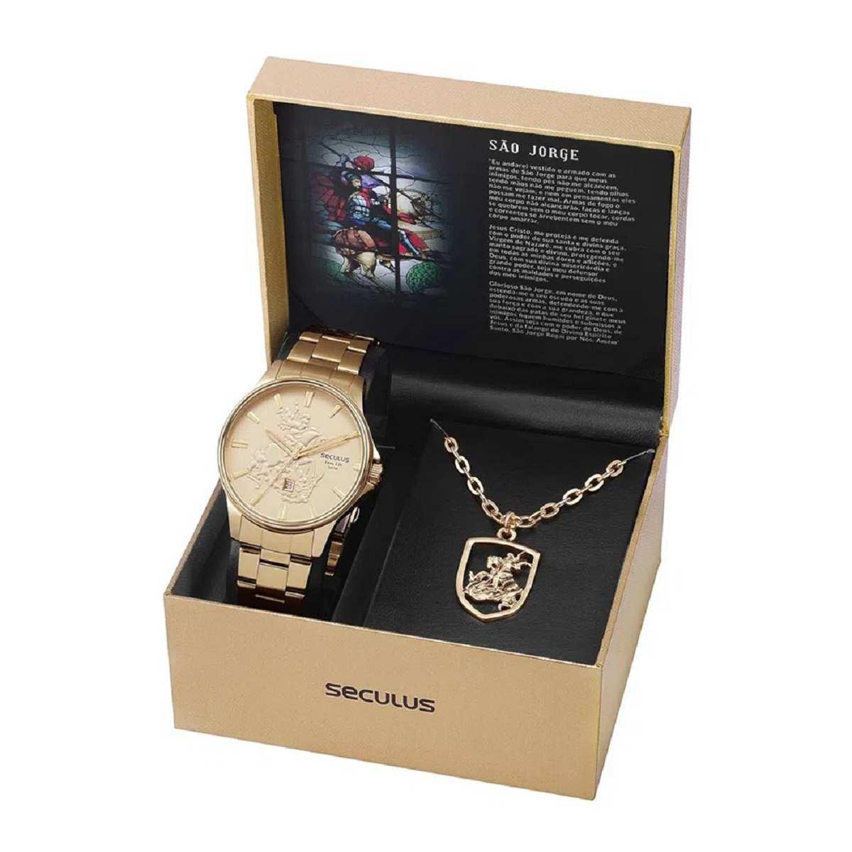 Relógio Seculus Masculino Dourado Com São Jorge Folheado 28933GPSKDA1