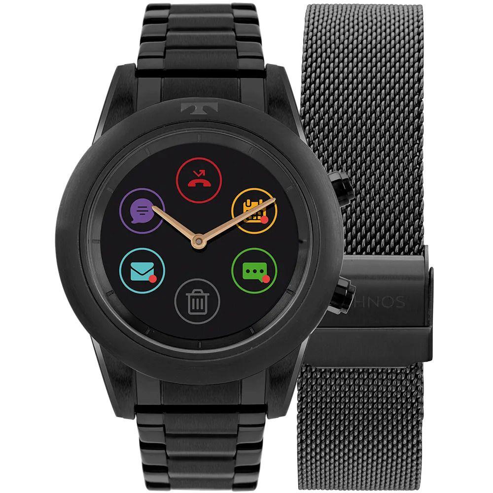 Relógio Technos Connect Duo Preto Feminino Smartwatch P01AD/4P