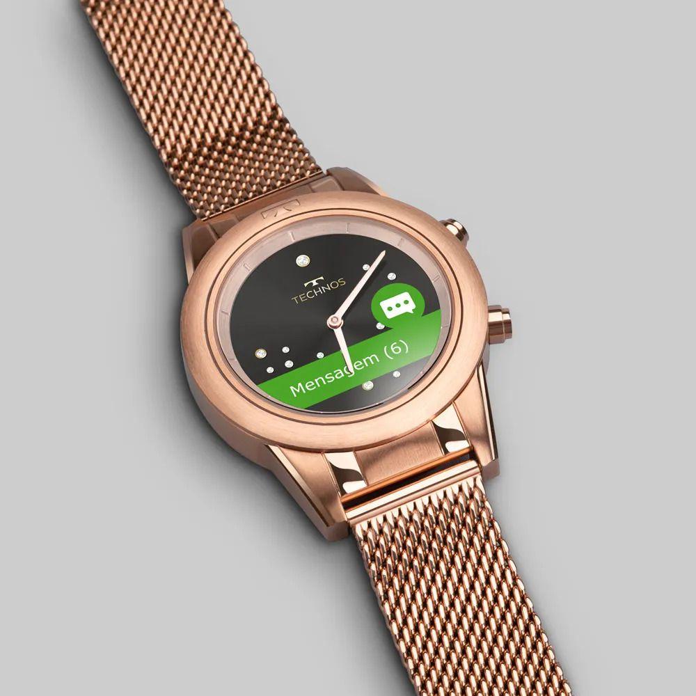 Relógio Technos Connect Duo Rose Feminino Smartwatch P01AE/4P