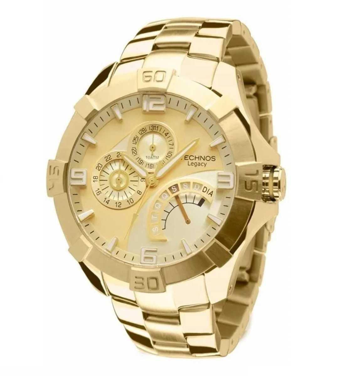 Relógio Technos Legacy Masculino Cronógrafo Data Dourado JR00AH/4X