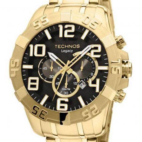 Relógio Technos Legacy Masculino Cronógrafo Dourado OS20IM /4P