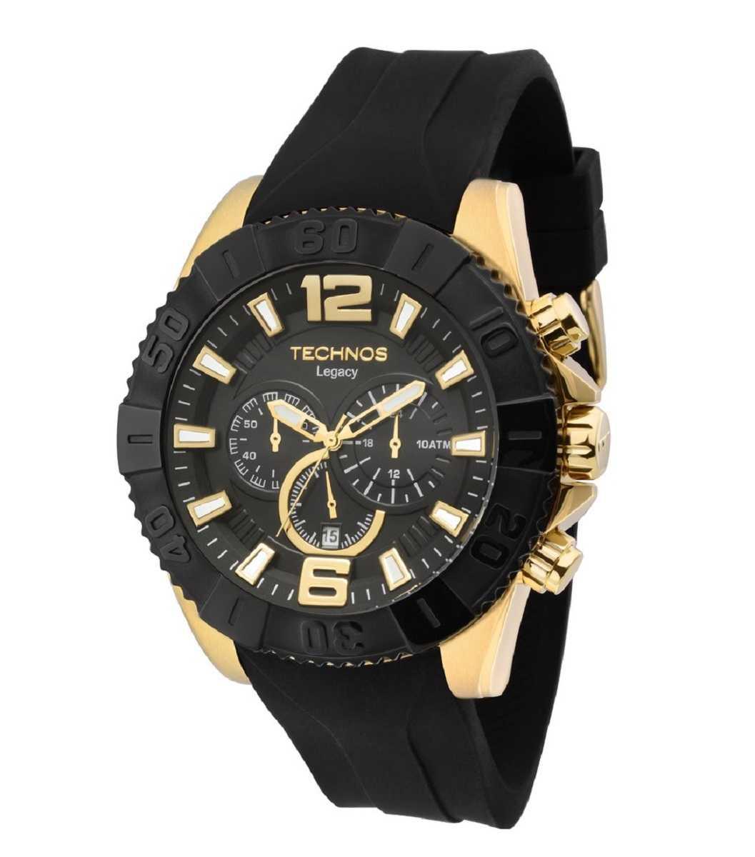 Relógio Technos Legacy Masculino Dourado Pulseira Silicone Preto OS20IO/8P