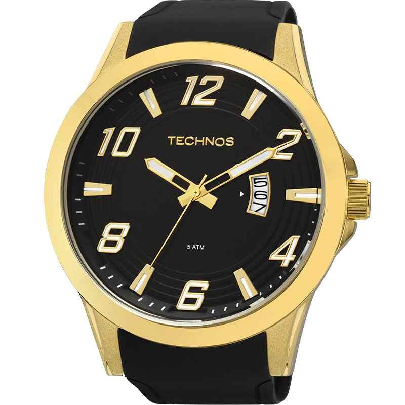 Relógio Technos Performance Race Masculino Dourado Pulseira De Silicone 2115KQA/8P