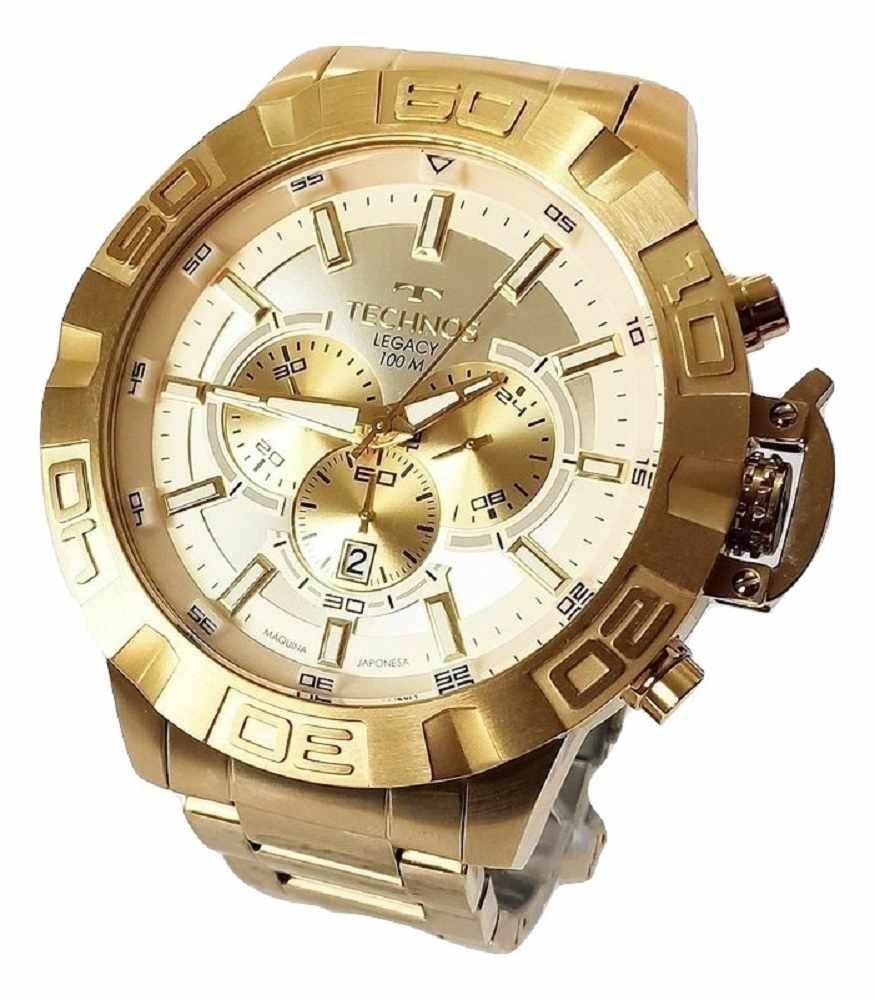 Relógio Technos Legacy Masculino Grande Cronógrafo Dourado JS25BA/4X