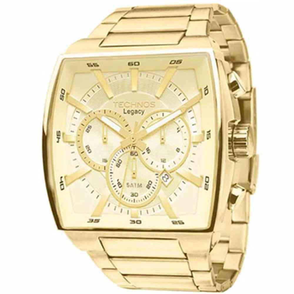 Relógio Technos Masculino Analógico Cronógrafo Dourado Quadrado JS25AL/4X