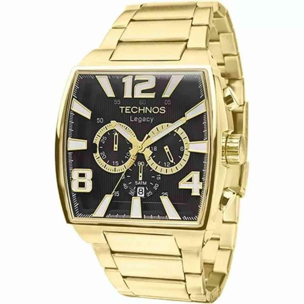 Relógio Technos Masculino Analógico Cronógrafo Dourado Quadrado JS25AR/1D