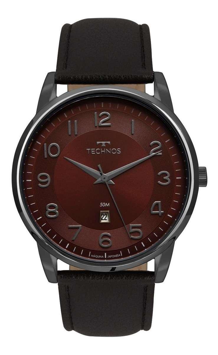 Relógio Technos Masculino Analógico Steel Classic Couro Preto 2117LBG/2N