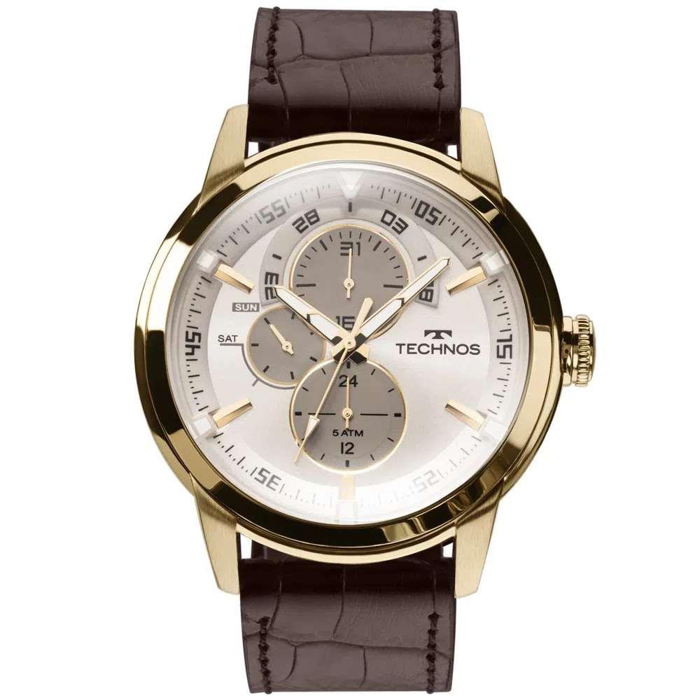 Relógio Technos Masculino Cronógrafo Couro Marrom  6P57AC/2C