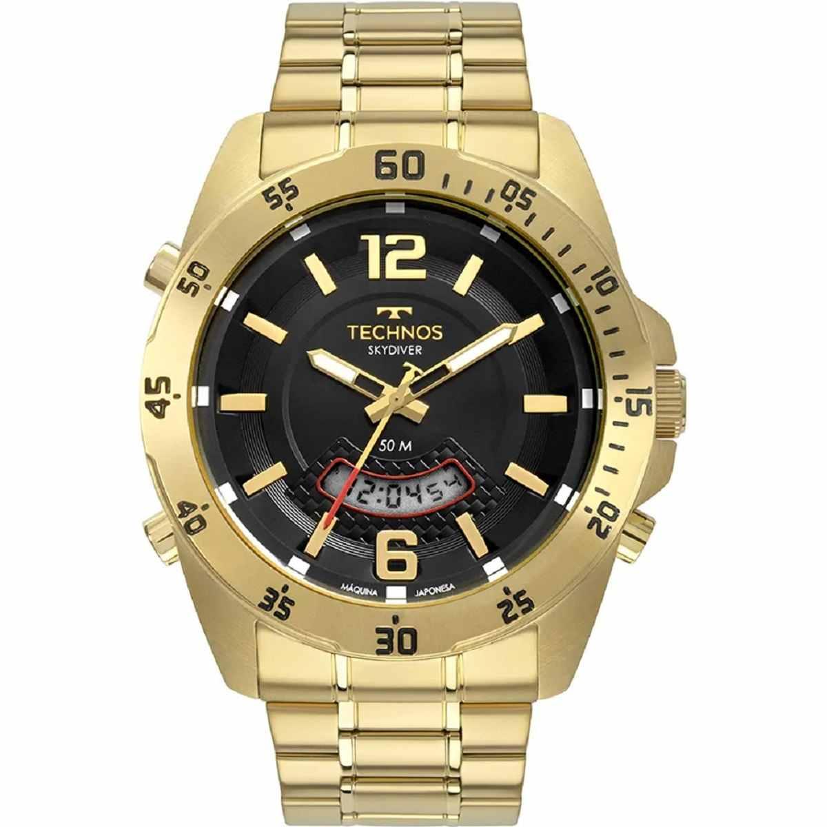 Relógio Technos Performance Masculino Dourado Digital e Analógico T205JL/4P