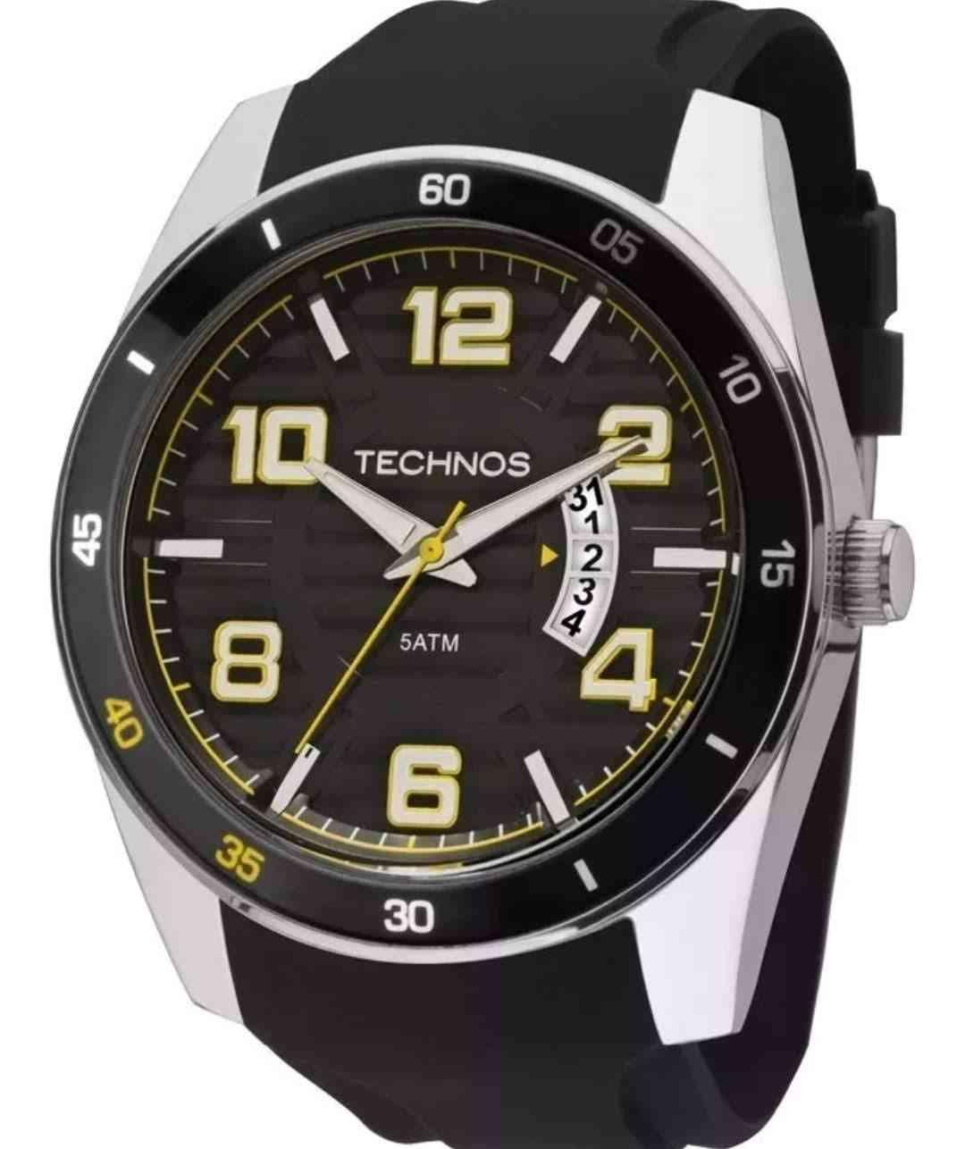 Relógio Technos Performance Race Masculino Prateado Pulseira De Silicone 2115KSR/8Y