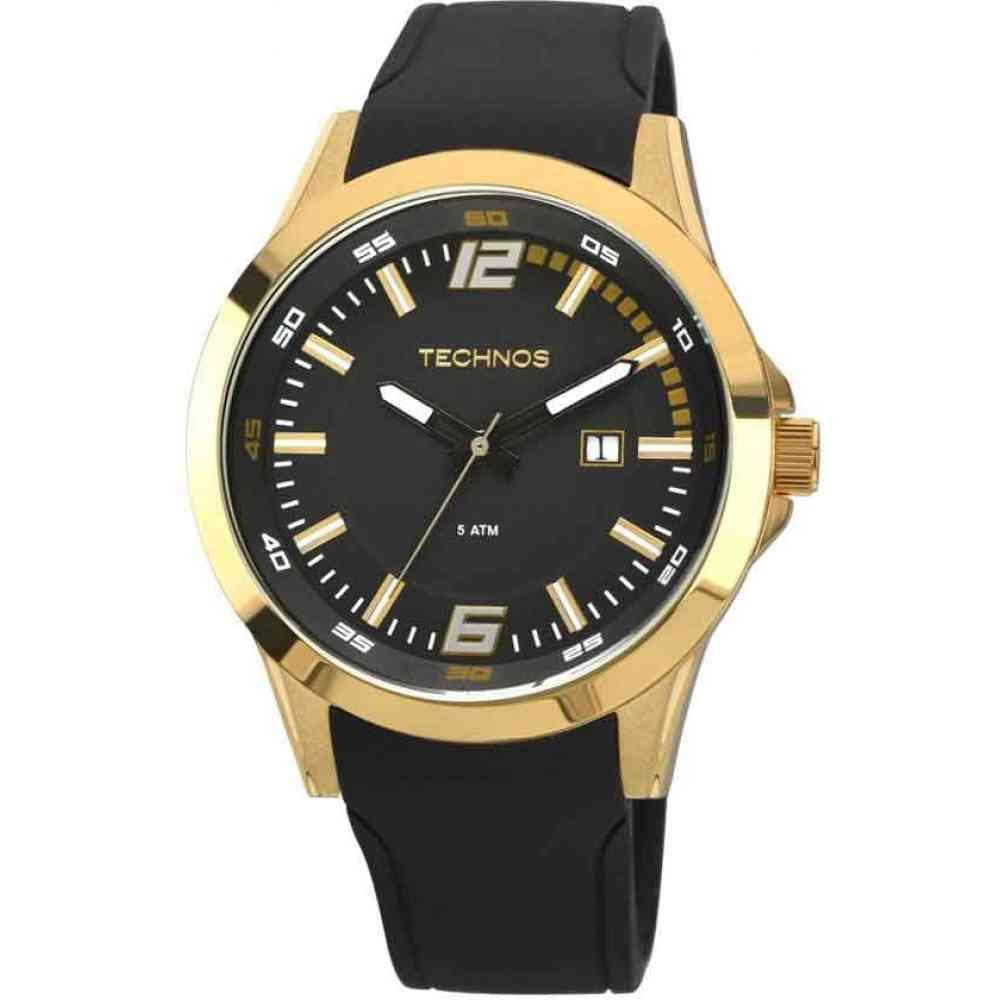 Relógio Technos Performance Race Masculino Dourado Pulseira De Silicone 2115KPU/8P