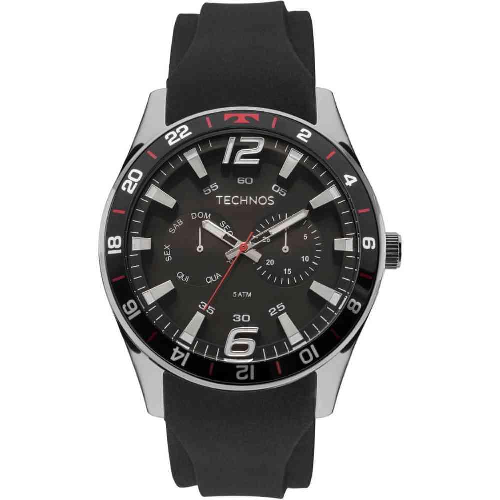 Relógio Technos Performance Racer Masculino Prateado Pulseira De Silicone 6P25BN/8P